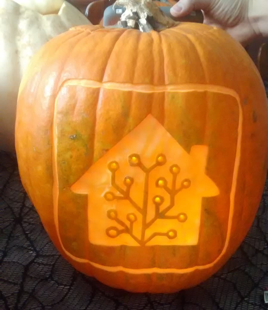 Pumpkin with Home Assistant logo carved in.