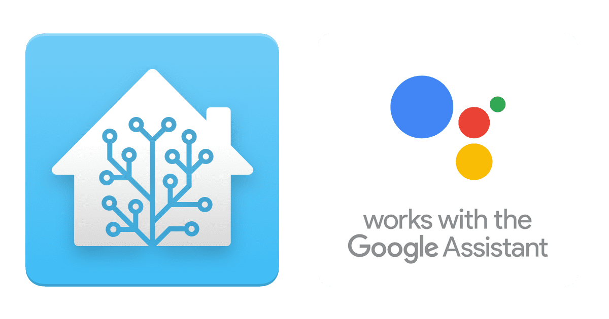 Home Assistant logo and the Works with the Google Assistant badge