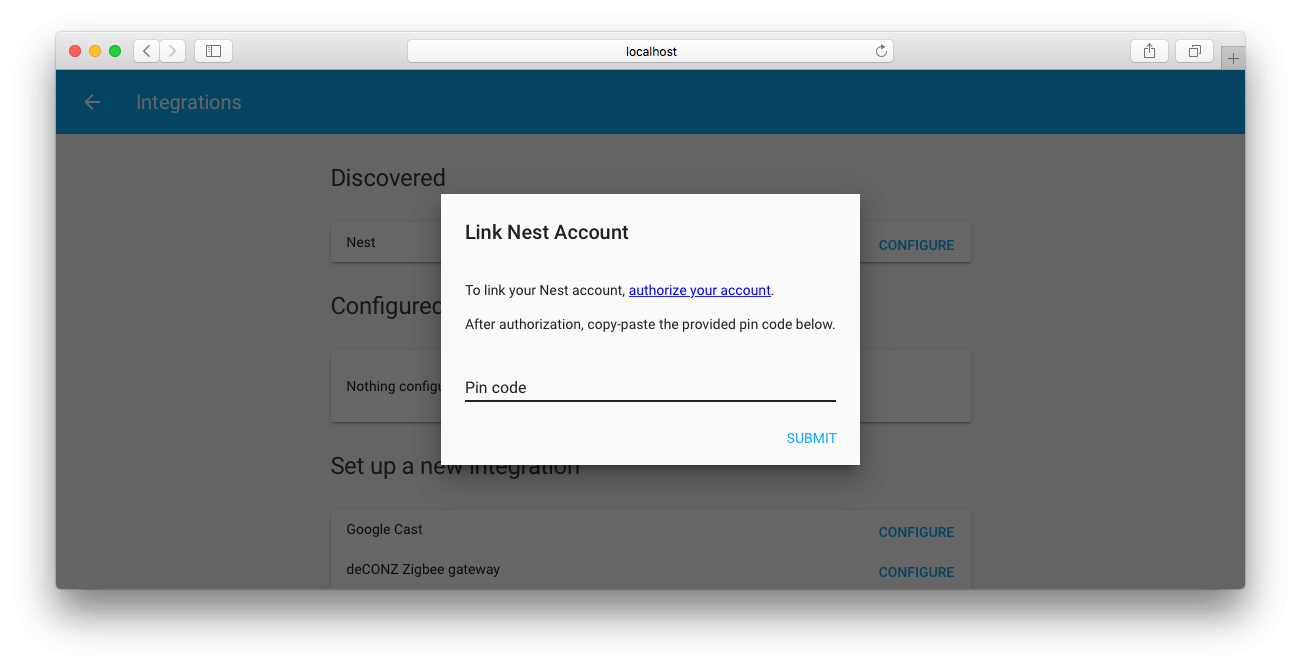 Screenshot of a browser showing a dialog to link a Nest account to Home Assistant.