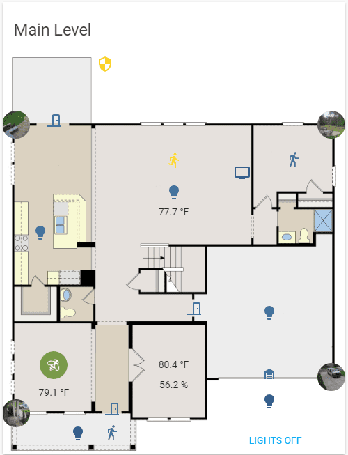 Screenshot of a floorplan with sensor info and light/camera controls overlayed.
