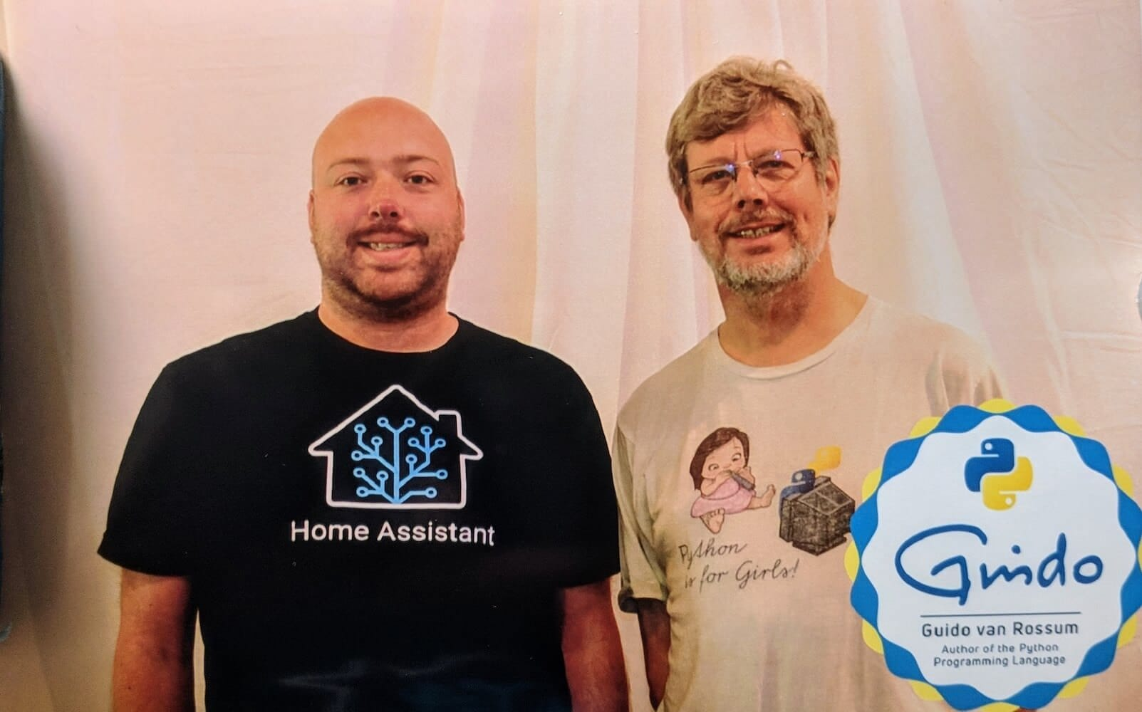 Photo of Paulus, founder of Home Assistant, and Guido, founder of Python.