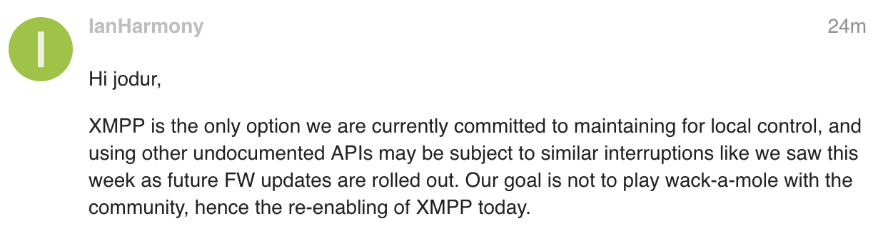 Screenshot of someone from Harmony stating that they are going to keep the local XMPP API around.