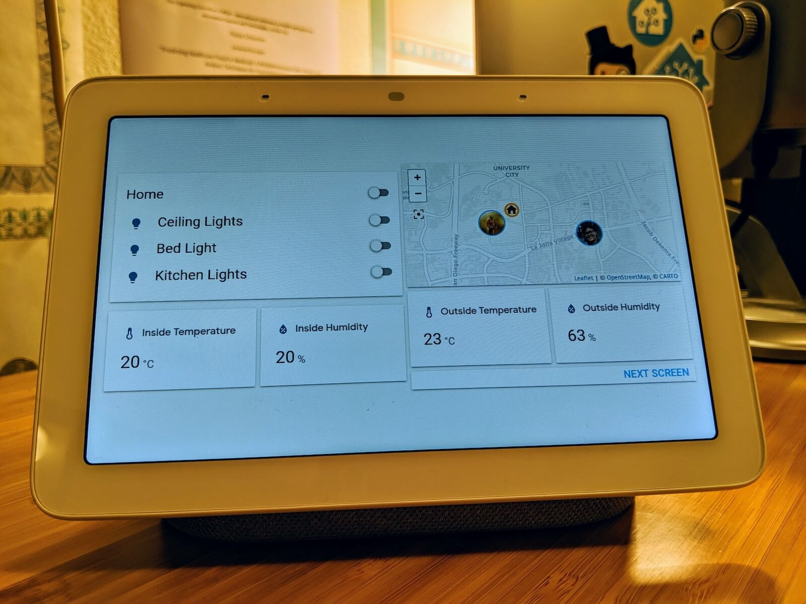 Photo of a Google Nest Hub running the Home Assistant Cast interface.
