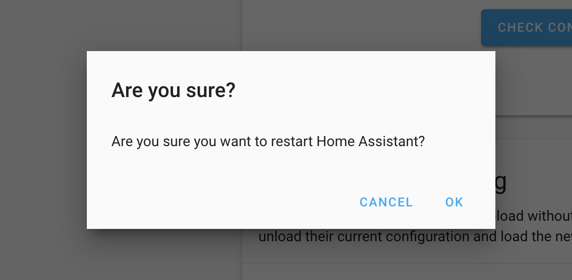 Screenshot of a confirm dialog when restarting Home Assistant.