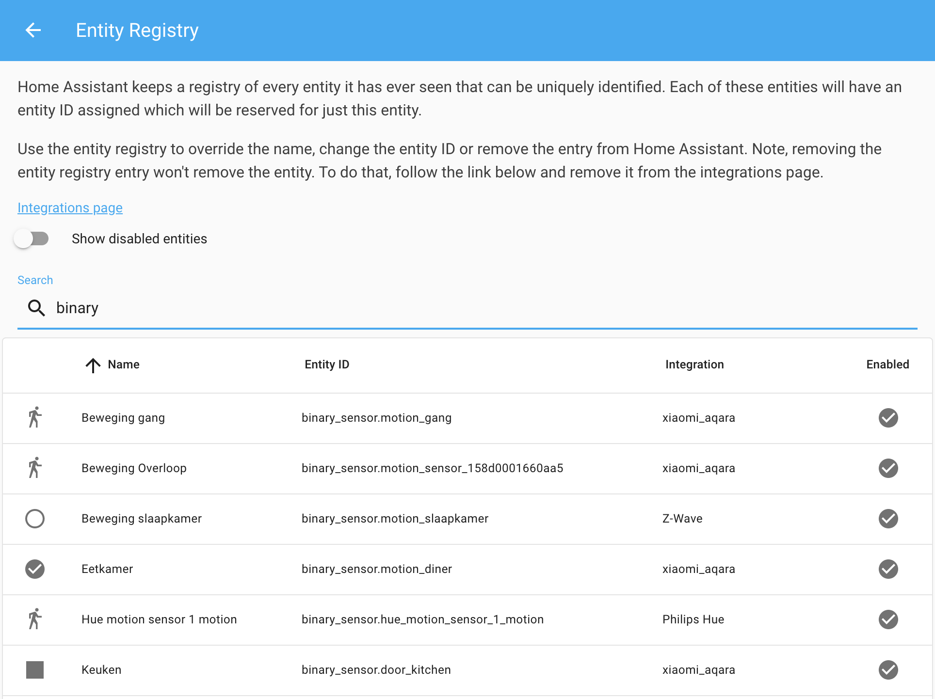 Screenshot of the entity registry data table.