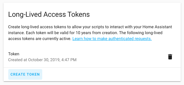 Screenshot of the Long-Lived Access Tokens interface in the profile page.