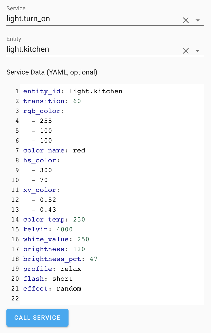 Screenshot of the service dev tools with YAML editor.