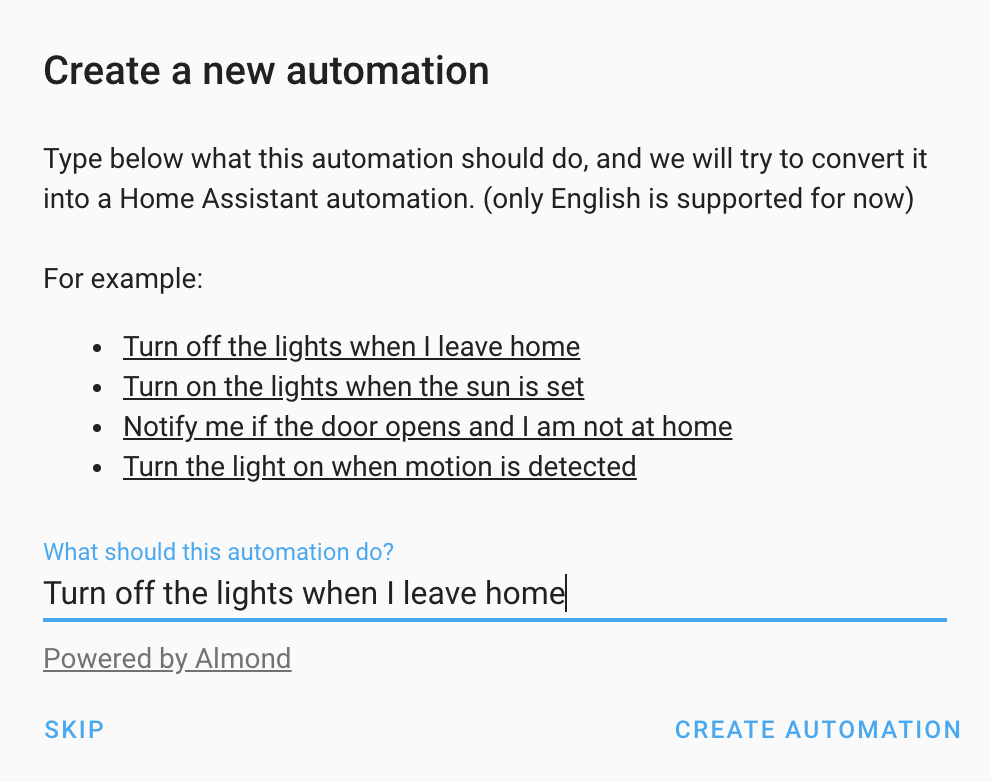 Screenshot of the create automation dialog.
