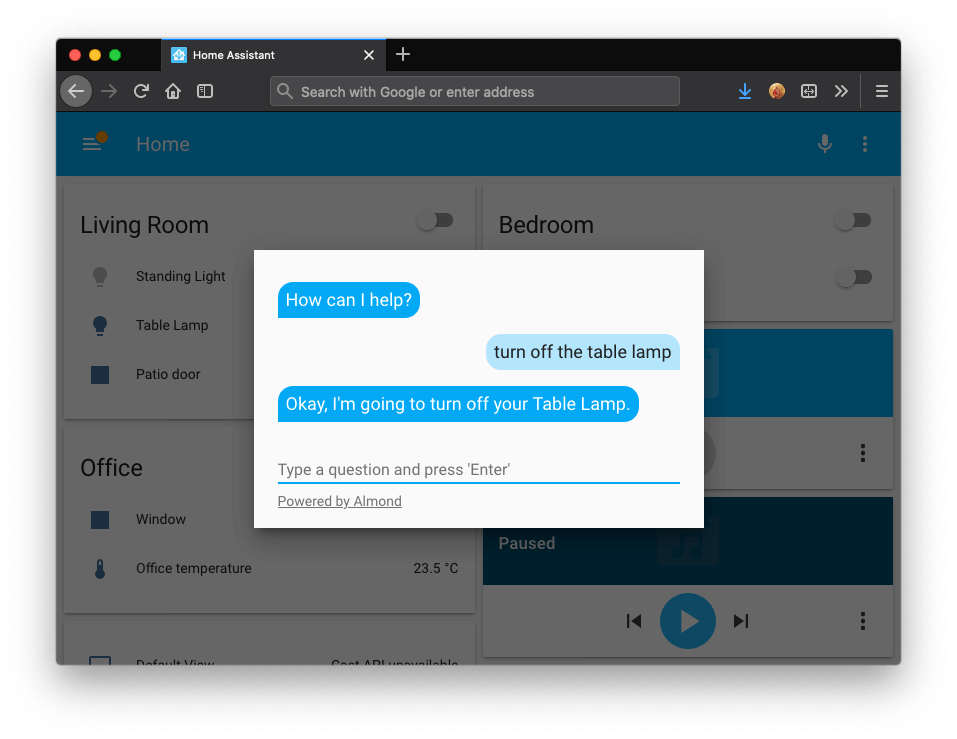 Screenshot showing Almond integration in Home Assistant.