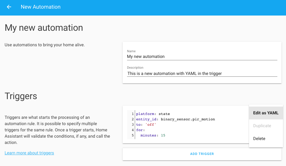 Screenshot of the automation YAML editor
