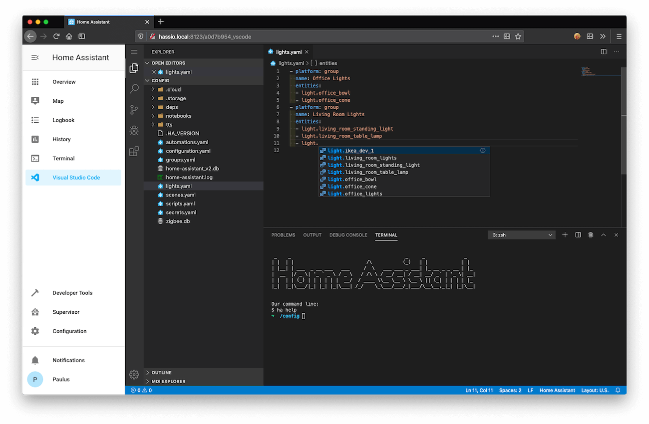 Screenshot of Visual Studio Code.