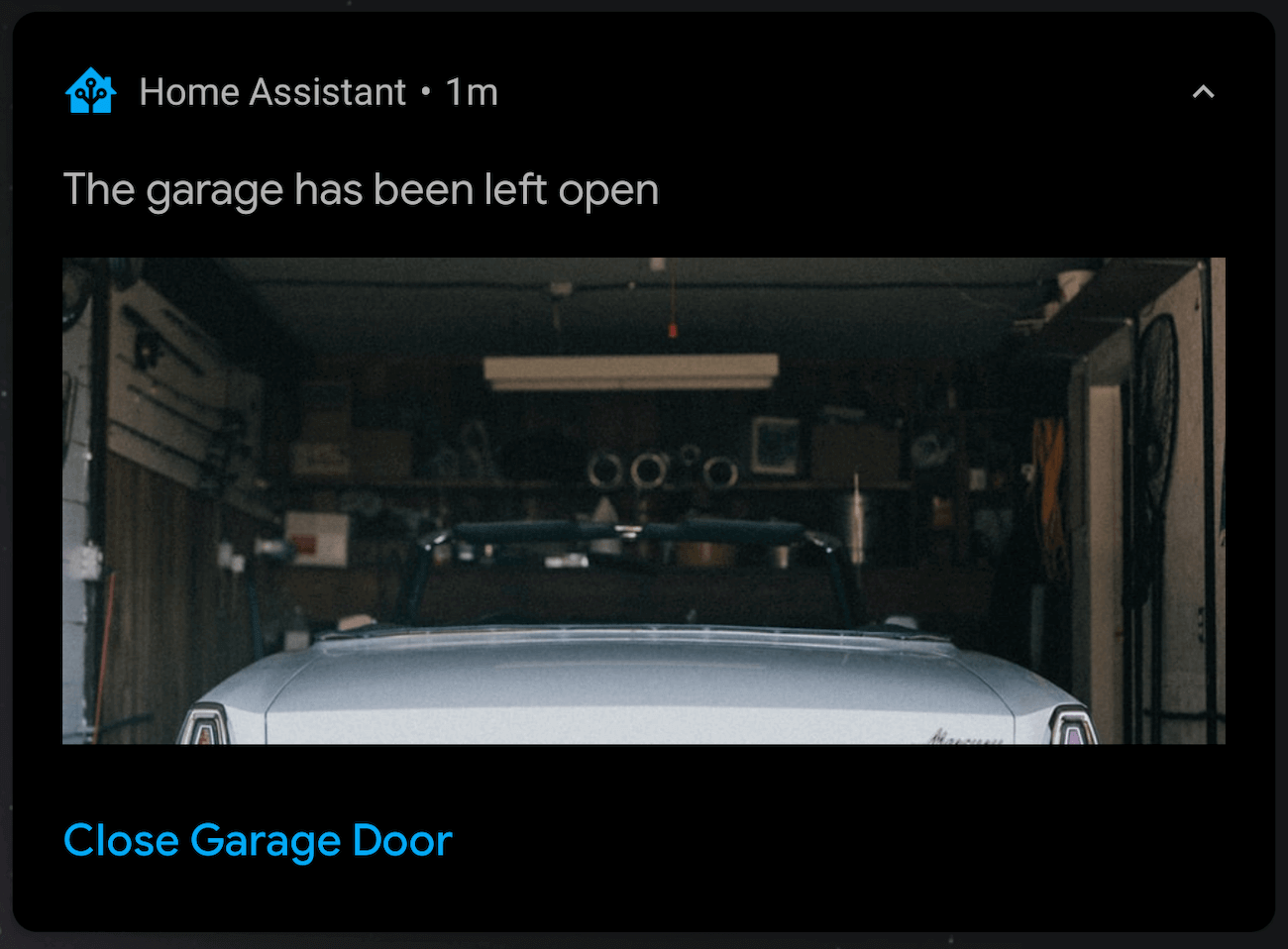 A notification showing an open garage