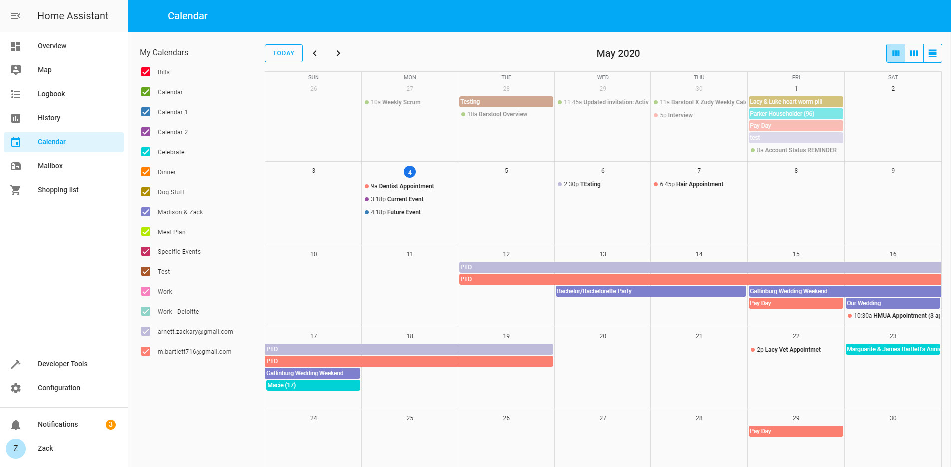 Screenshot of the Calendar panel