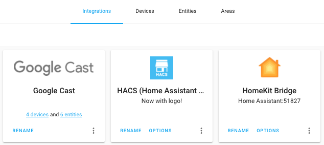 Screenshot of the HACS integration with its icon shown