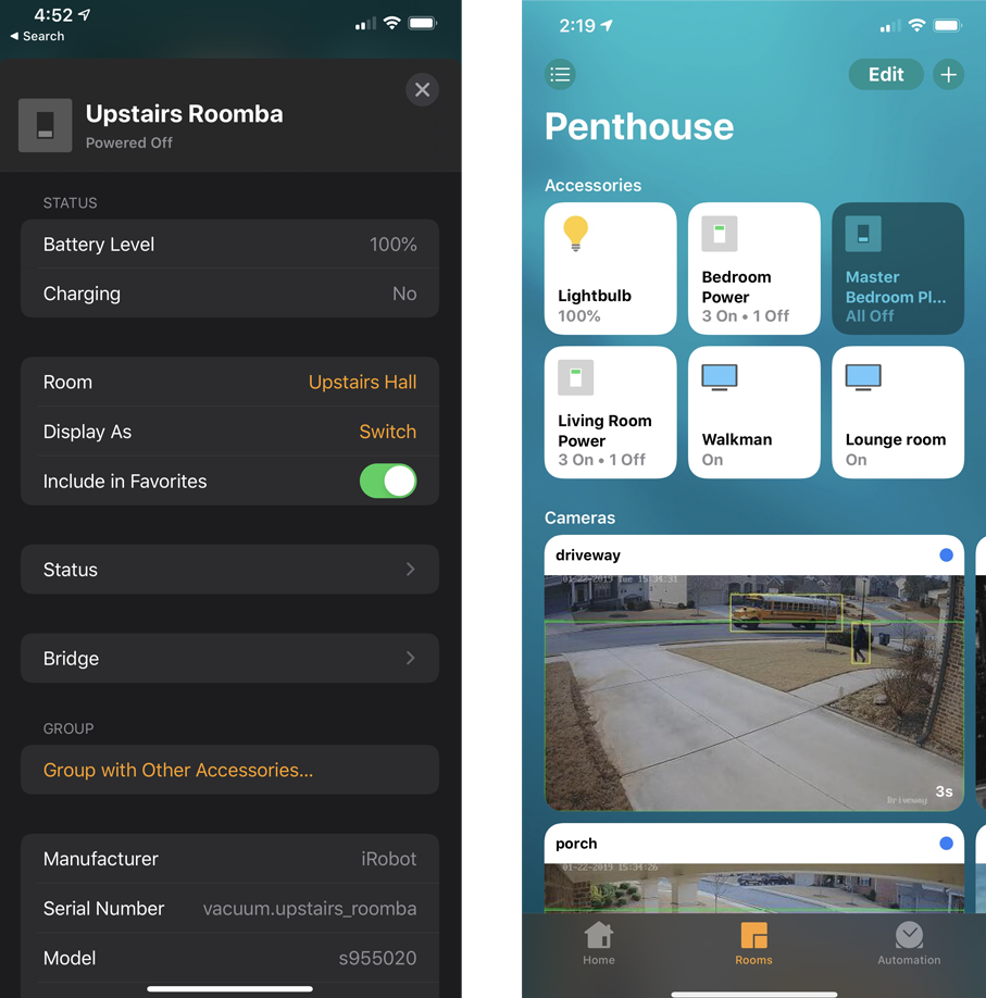 Screenshot from HomeKit. Left: accessory information, Right: Camera support.