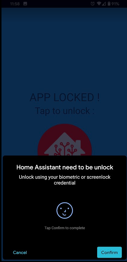 Screenshot of Biometric Unlock