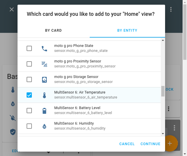 Screenshot of add card by entity selection view in Lovelace UI.