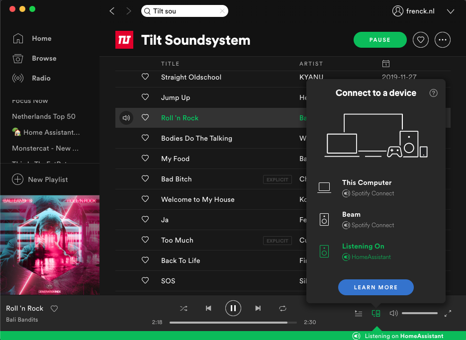 Screenshot of Spotify connected to Home Assistant as audio output.