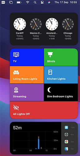 Screenshot of a large Home Assistant Actions widget in Big Sur