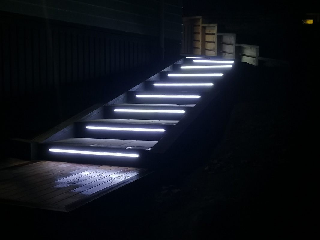 Picture of the end result of the stairs with smart lights Jay build.