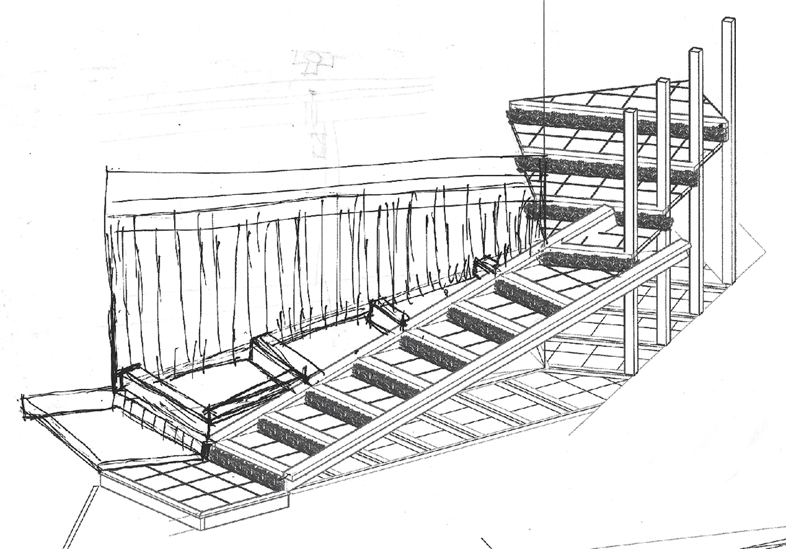 Scan of a concept drawing of the stairs with smart lights