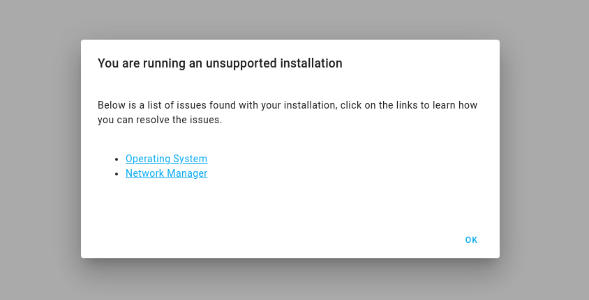unsupported dialog