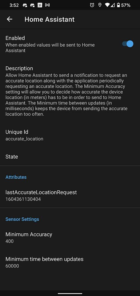 Captura de pantalla de la configuración de ubicación