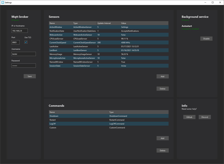 Interfaz de usuario del programa de servicio de la estación de trabajo en Windows
