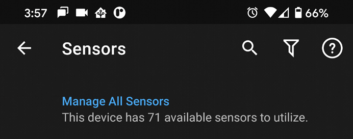 Screenshot of Sensor Search and Filter