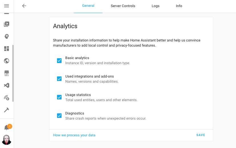Screenshot of the Home Assistant Analytics options