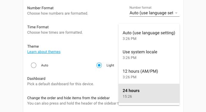 Screenshot of new time format setting