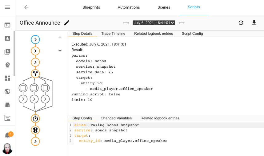 Captura de pantalla del uso del nuevo depurador de scripts en el script de anuncios de mi oficina