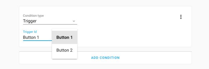 Captura de pantalla del uso de una condición de activación en el editor de automatización
