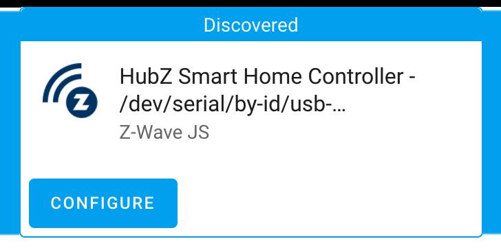 Capture d'écran d'un périphérique USB découvert compatible avec Z-Wave JS