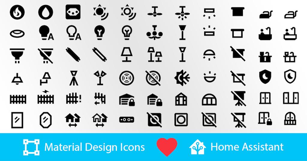 Exemple d'image montrant certaines des nouvelles icônes Material Design disponibles