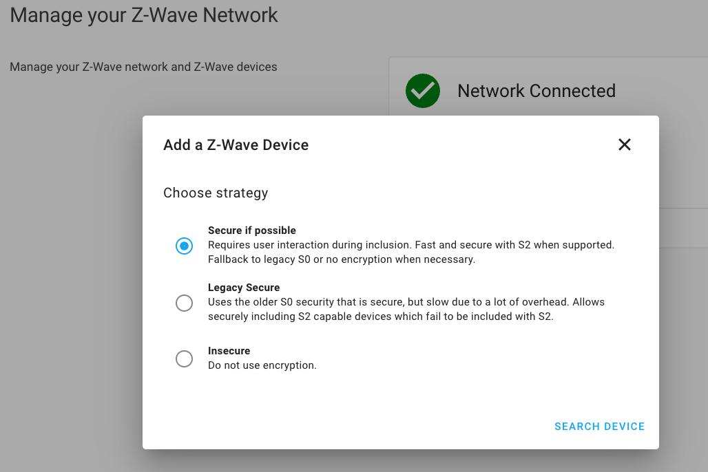 Capture d'écran de Z-Wave JS associant un nouvel appareil à la sécurité S2
