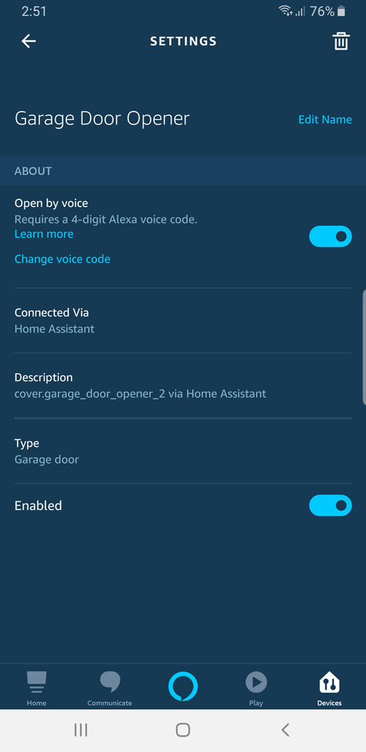 Screenshot: Alexa App Garage Door Open by voice