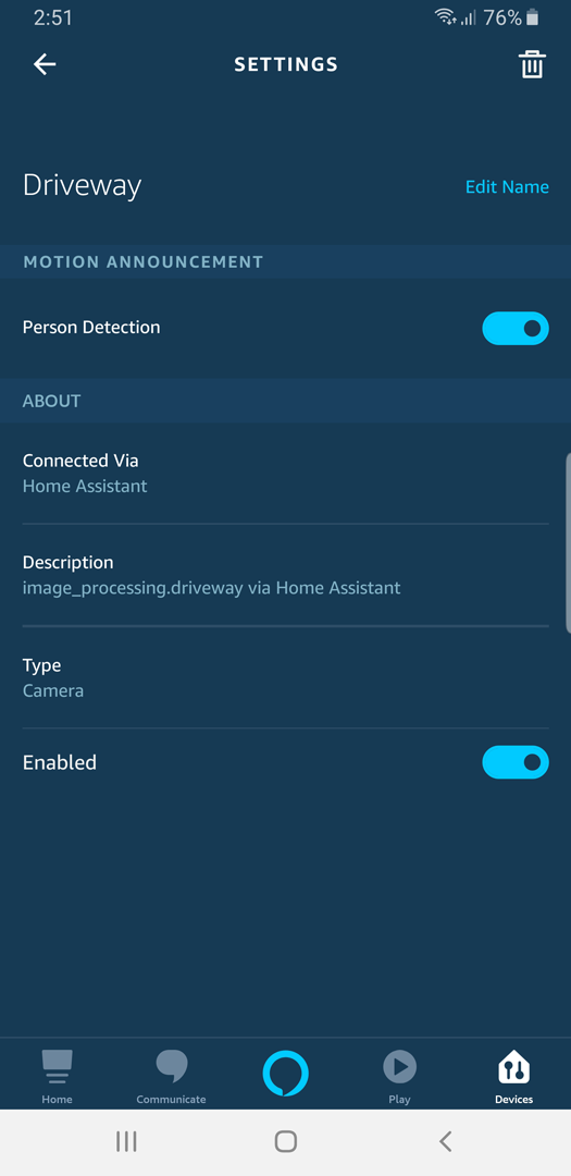 Screenshot: Alexa App Person Detection Notification