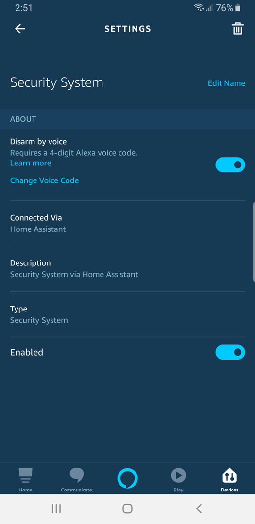 Screenshot: Alexa App Security System PIN