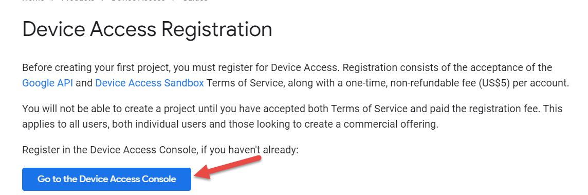 Screenshot of Device Access Registration