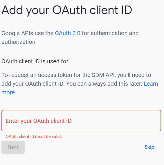 Screenshot of Device Access Console OAuth client ID