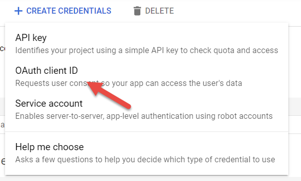Screenshot of OAuth client ID selection