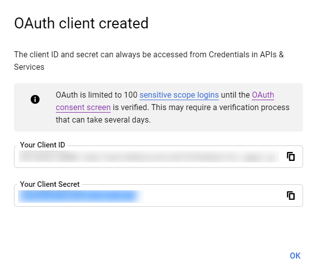 Screenshot of OAuth Client ID and Client Secret