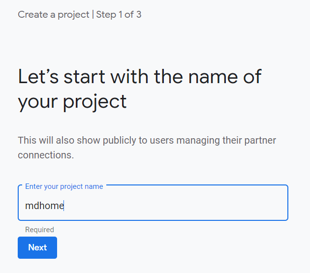 Screenshot of naming a project